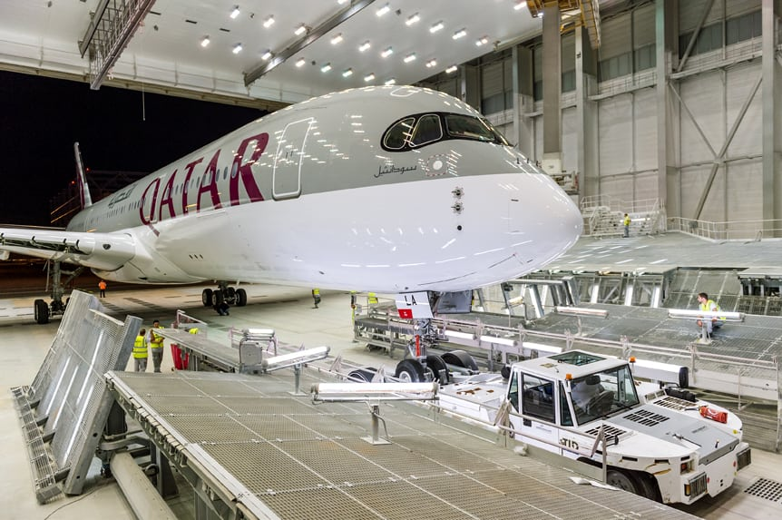 Qatar Airways' freshly painted Airbus A350 XWB on the factory lines