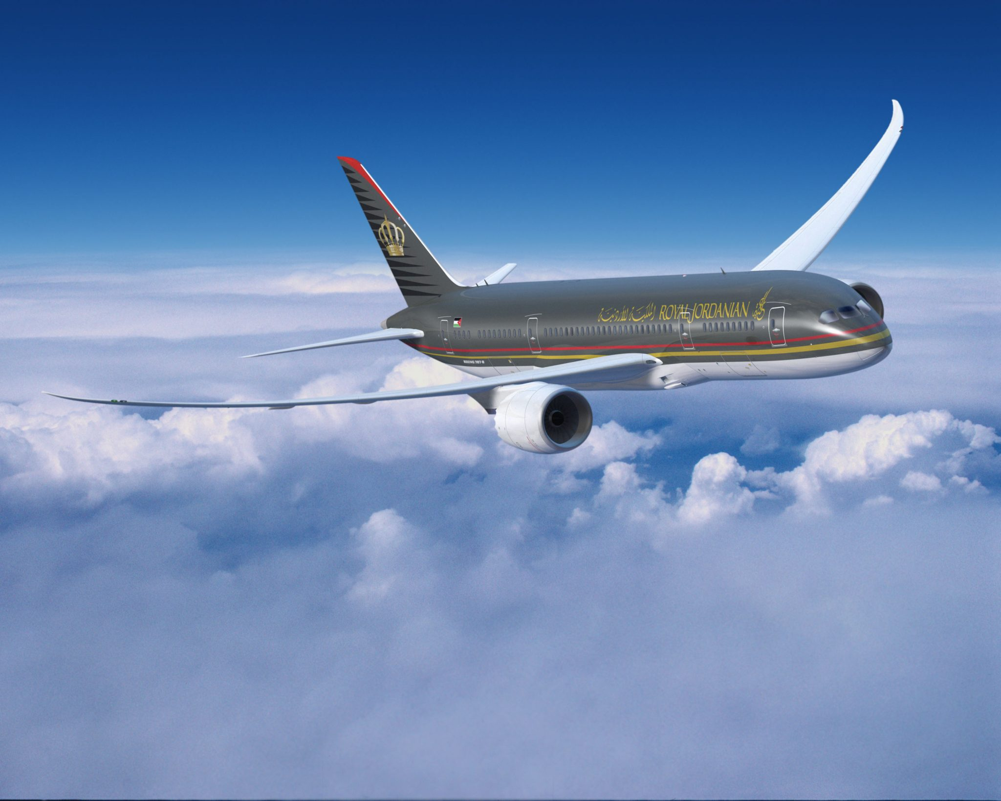 A Royal Jordanian Boeing 787 Dreamliner in flight