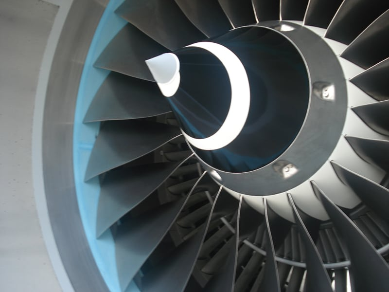 The fan of an IAE V2500 Engine