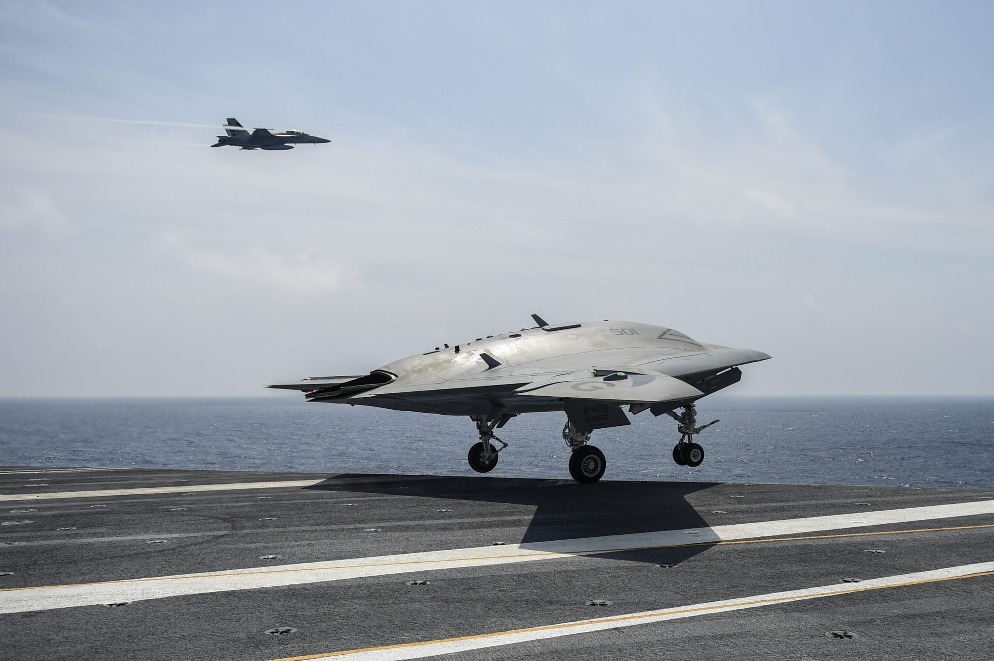 X-47B UAS taking off from a carrier in the Eastern Atlantic