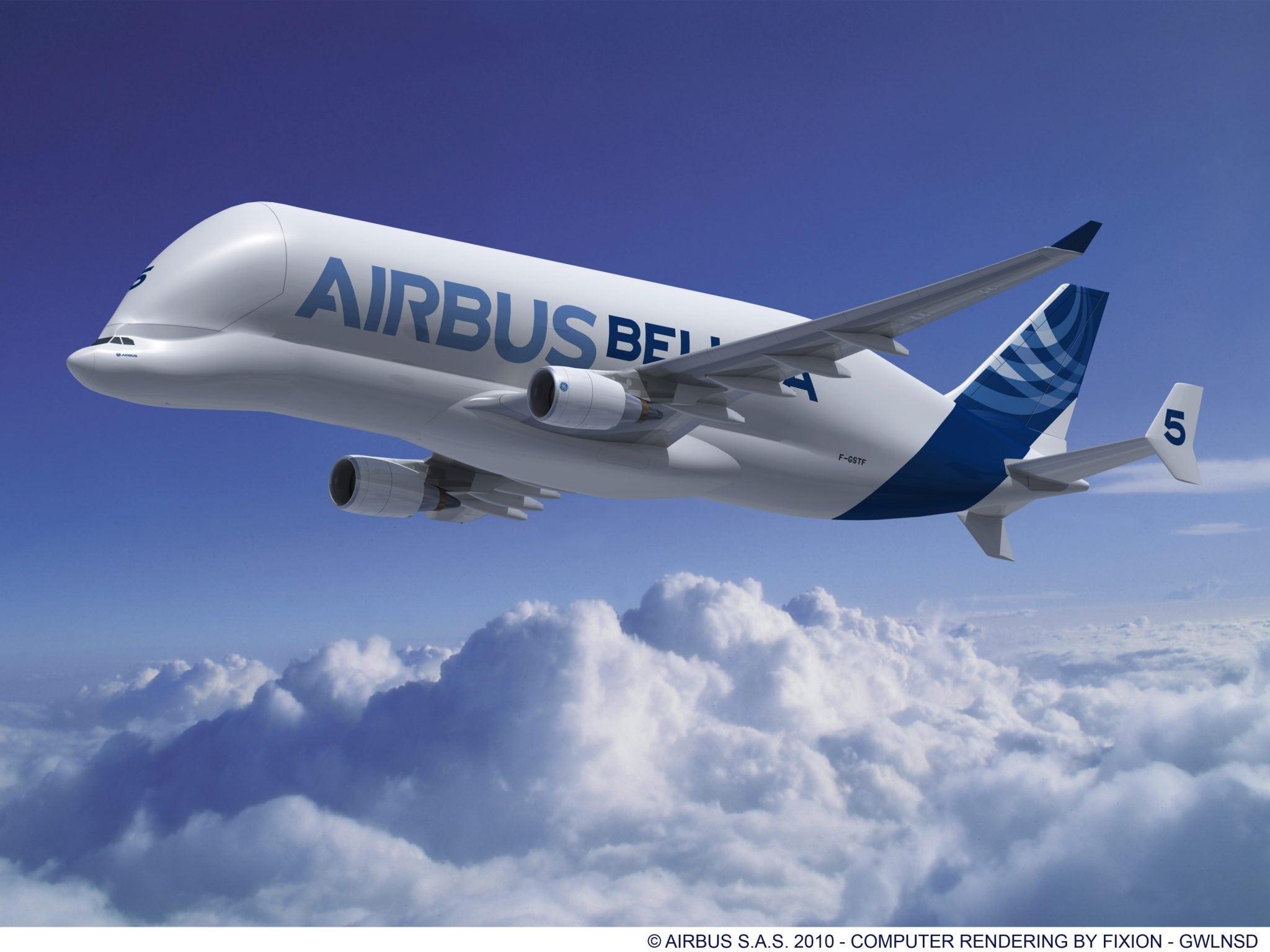 Airbus Beluga Cargo Plane in flight
