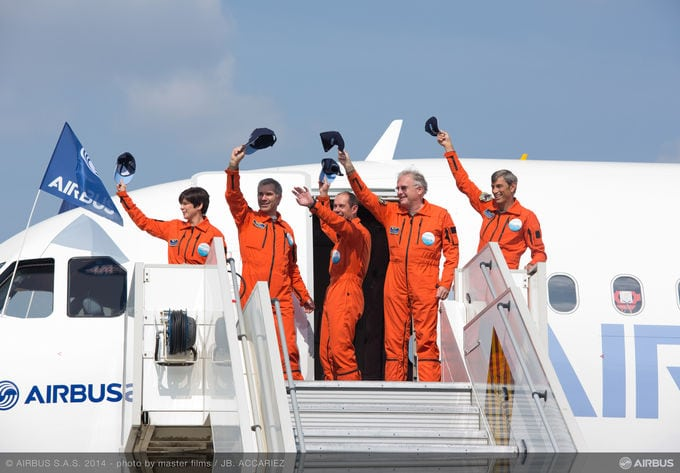 Airbus A320neo crew after first flight