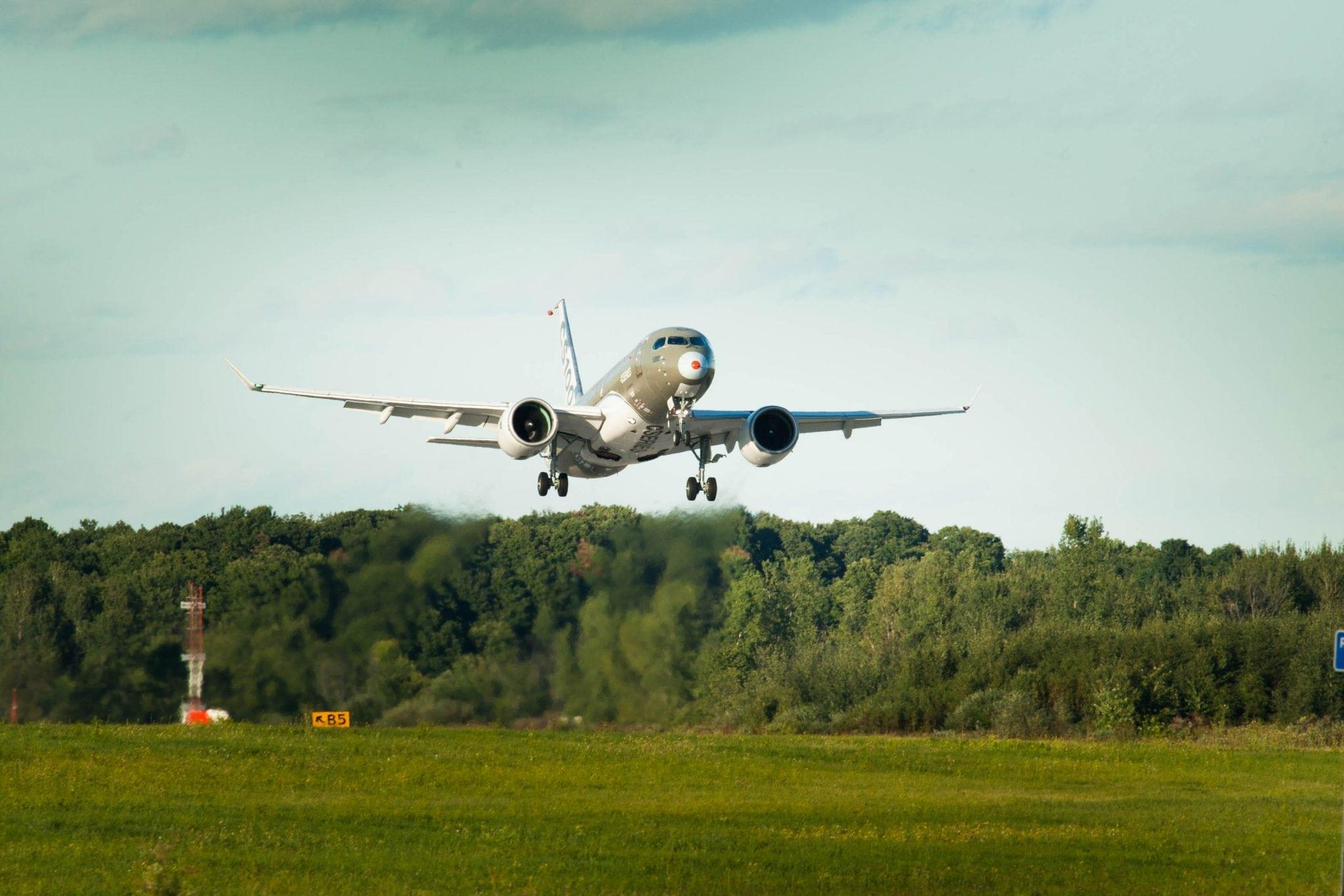 The Bombardier CSeries in flight