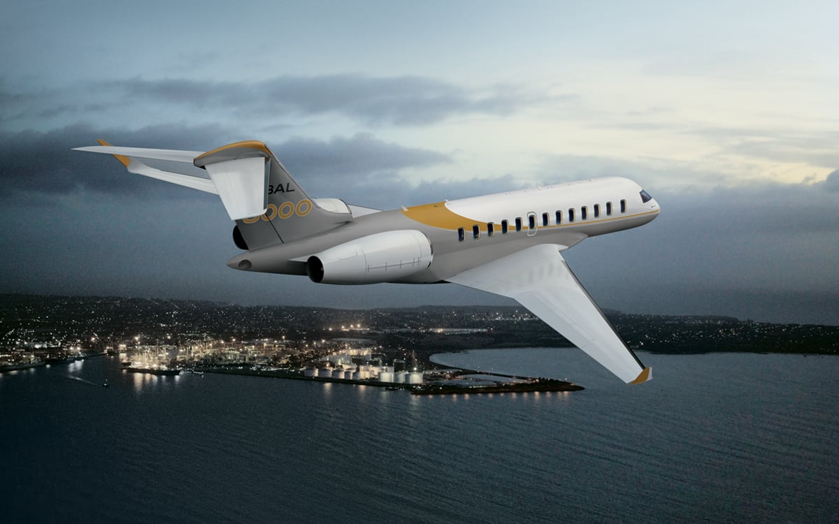 Bombardier Global 8000 business aircraft in flight