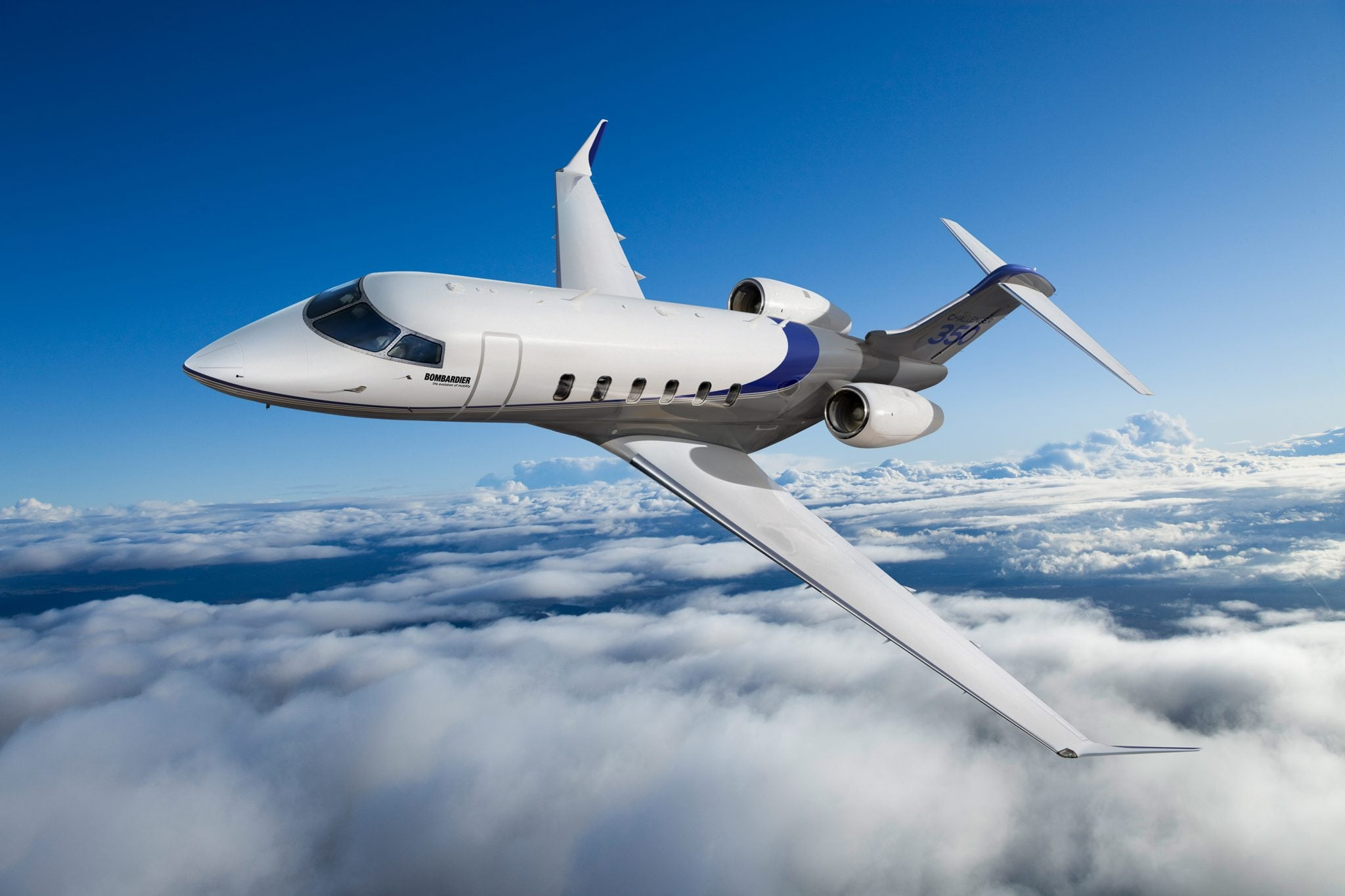 Bombardier's Challenger 350 jet in flight