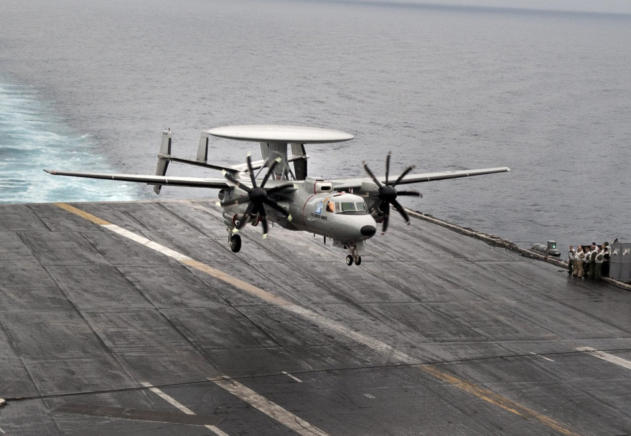 The E-2D Advanced Hawkeye approaching landing