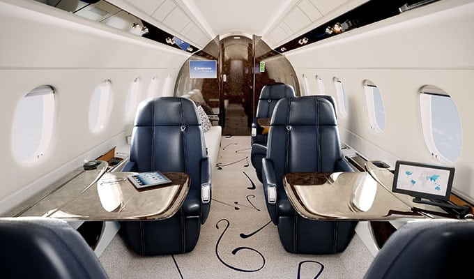 Cabin of the Embraer Legacy 500 business jet