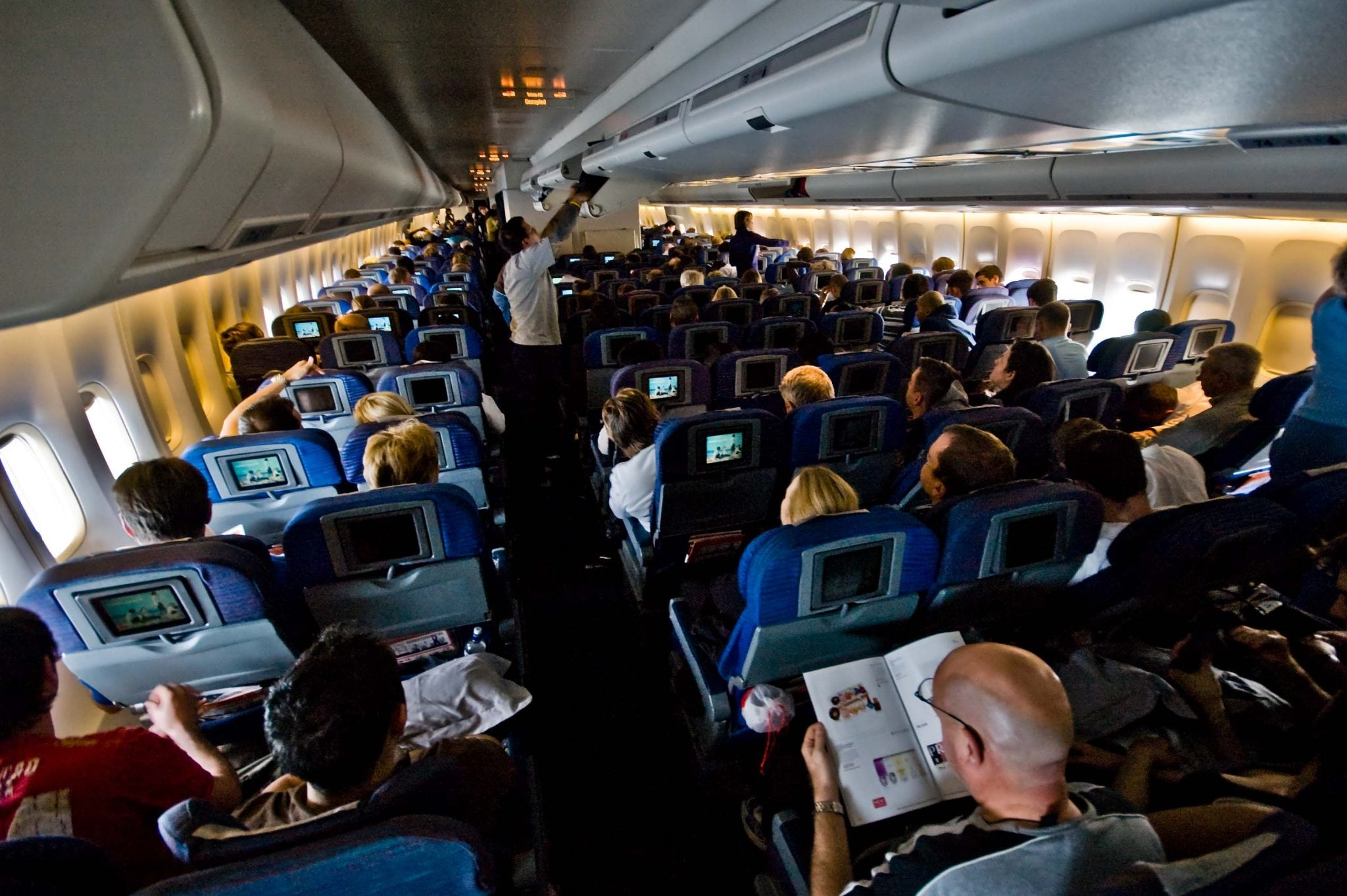 A full airplane cabin