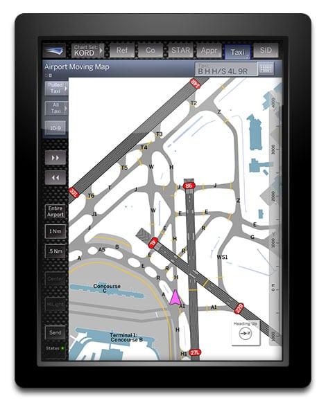 Jeppessen's FliteDeck Pro displayed on a tablet
