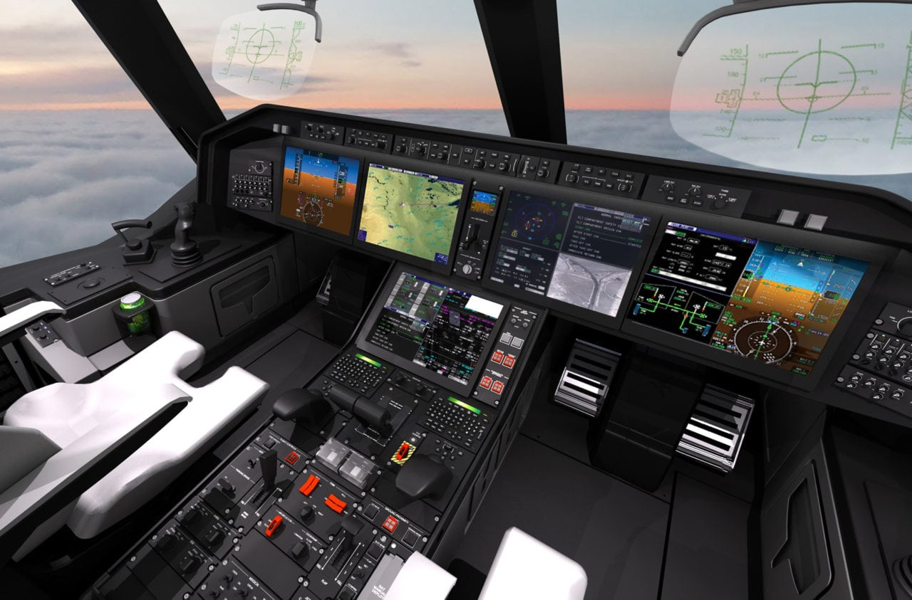 Simulated flight deck of the KC-390 Embraer aircraft