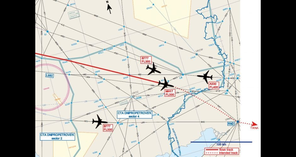 Image of the route of flight MH17