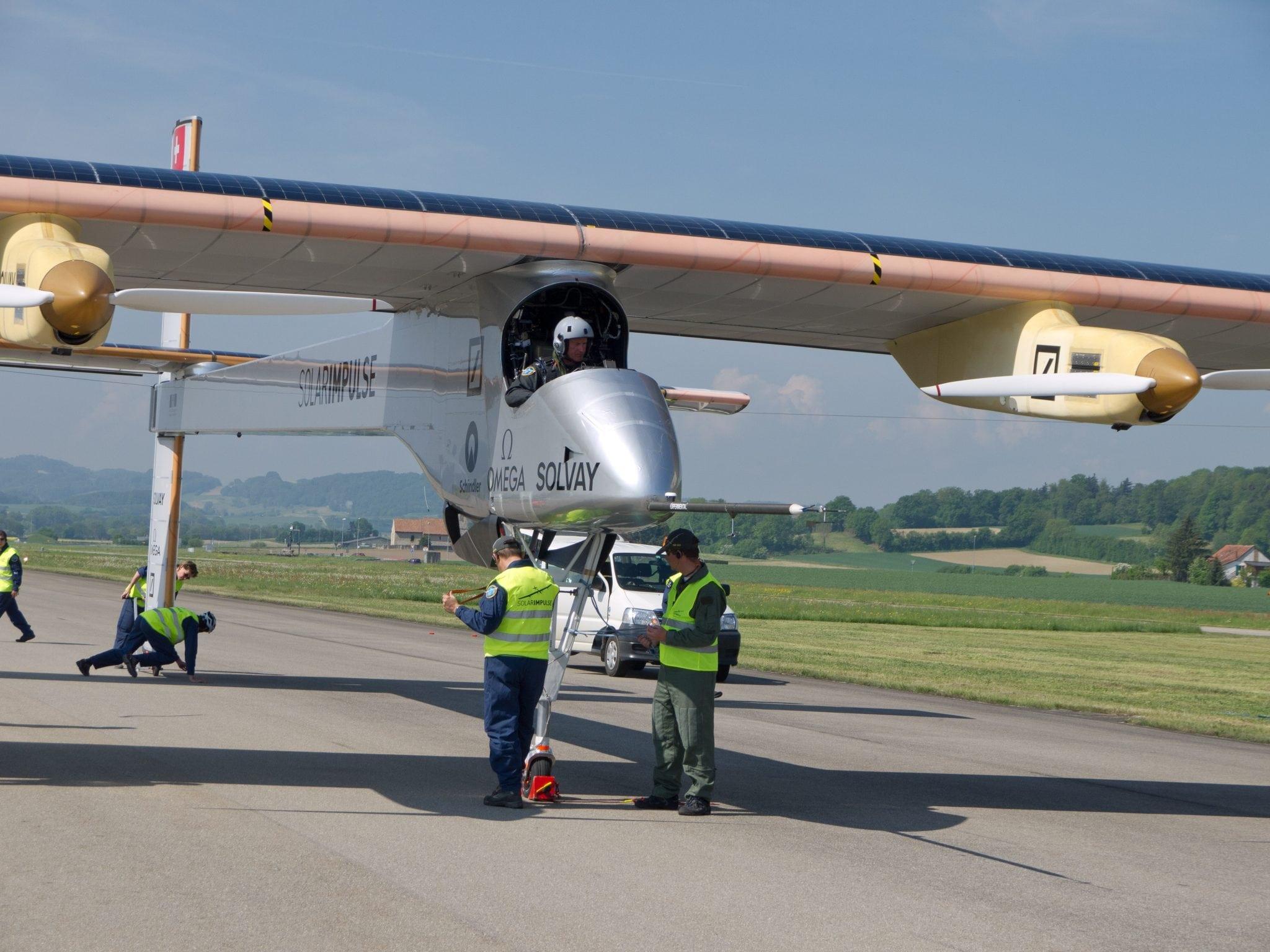 The solar Impulse prototype aircraft on runway