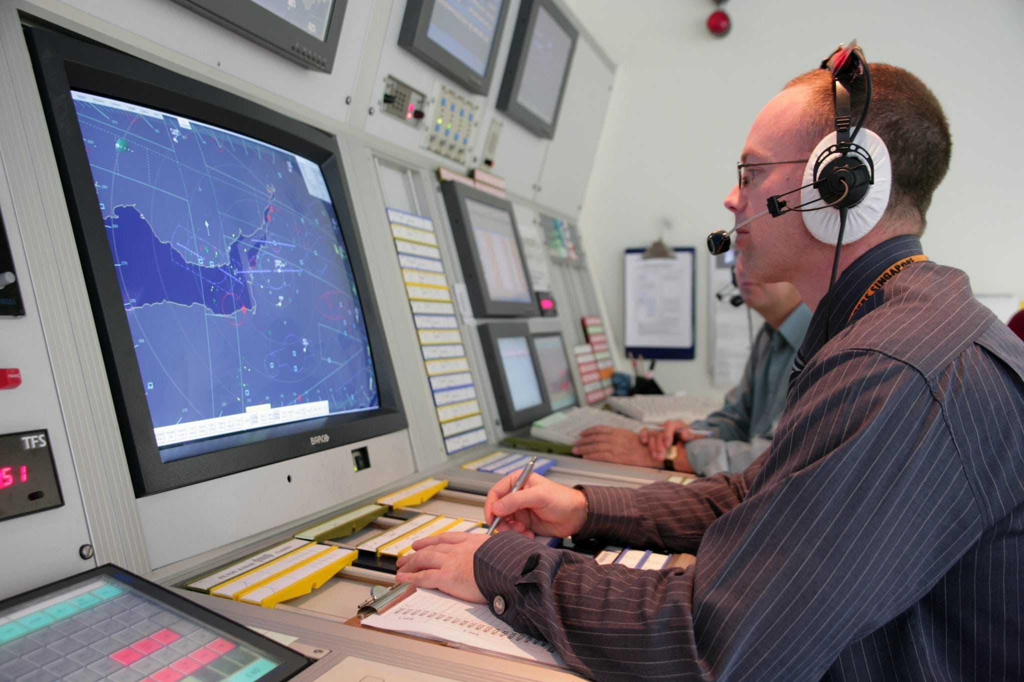 Air traffic controllers at the Bristol Airport
