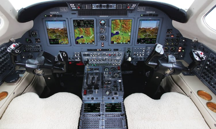 The Universal Avionics flight deck on the Citation VII