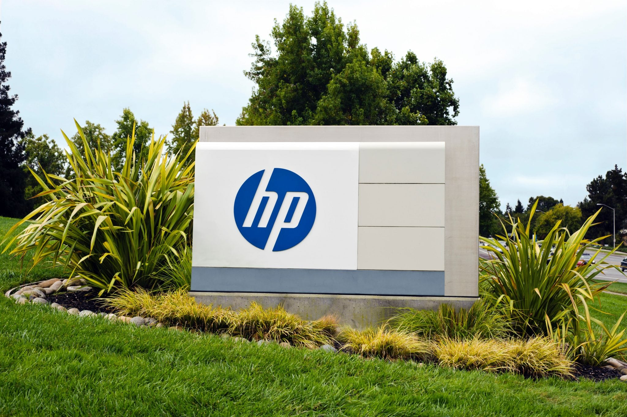 Front sign of HP Corporate headquarters in Palo Alto, Calif