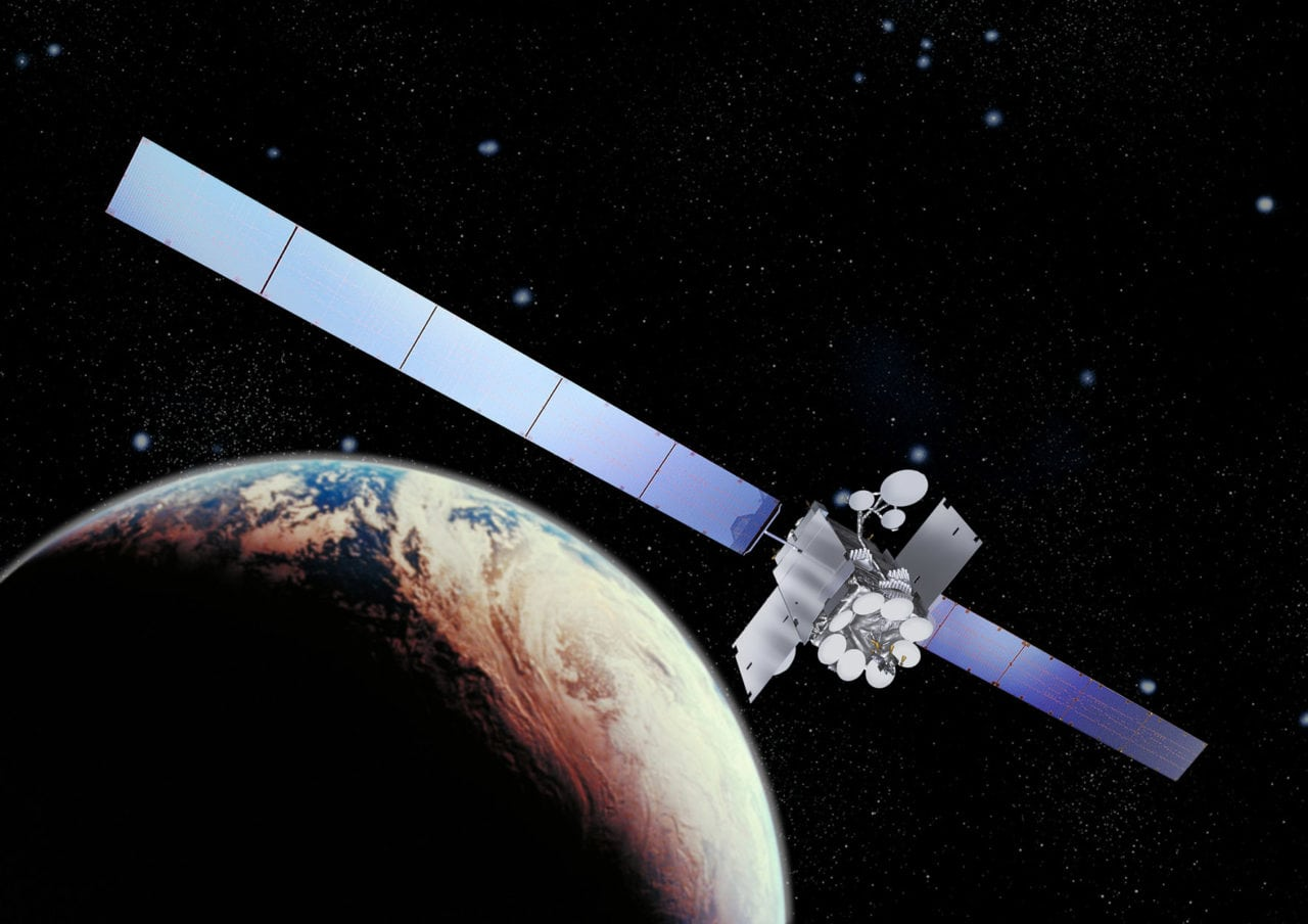 Artist rendition of the Inmarsat I-5 satellite