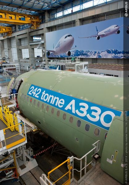 The first 242-ton maximum takeoff weight A330-300 jetliner on the final assembly line in Tolouse, France