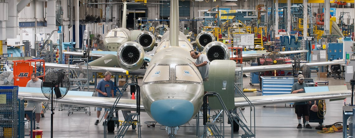Aircraft on the assembly line