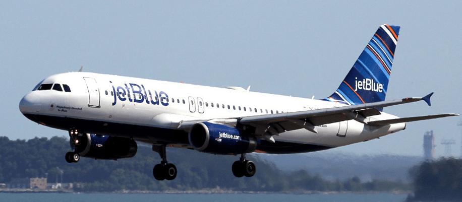 JetBlue aircraft in flight