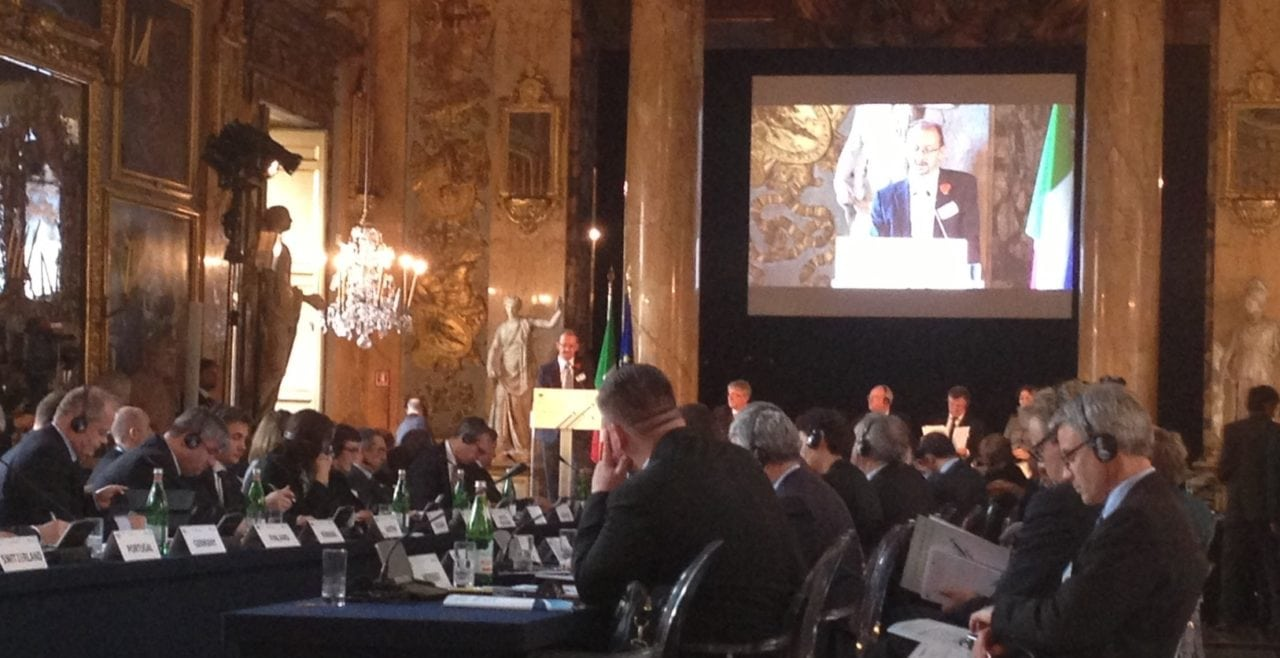 Richard Deakin addresses European transport ministers at the Pallazzo Colonna, Rome
