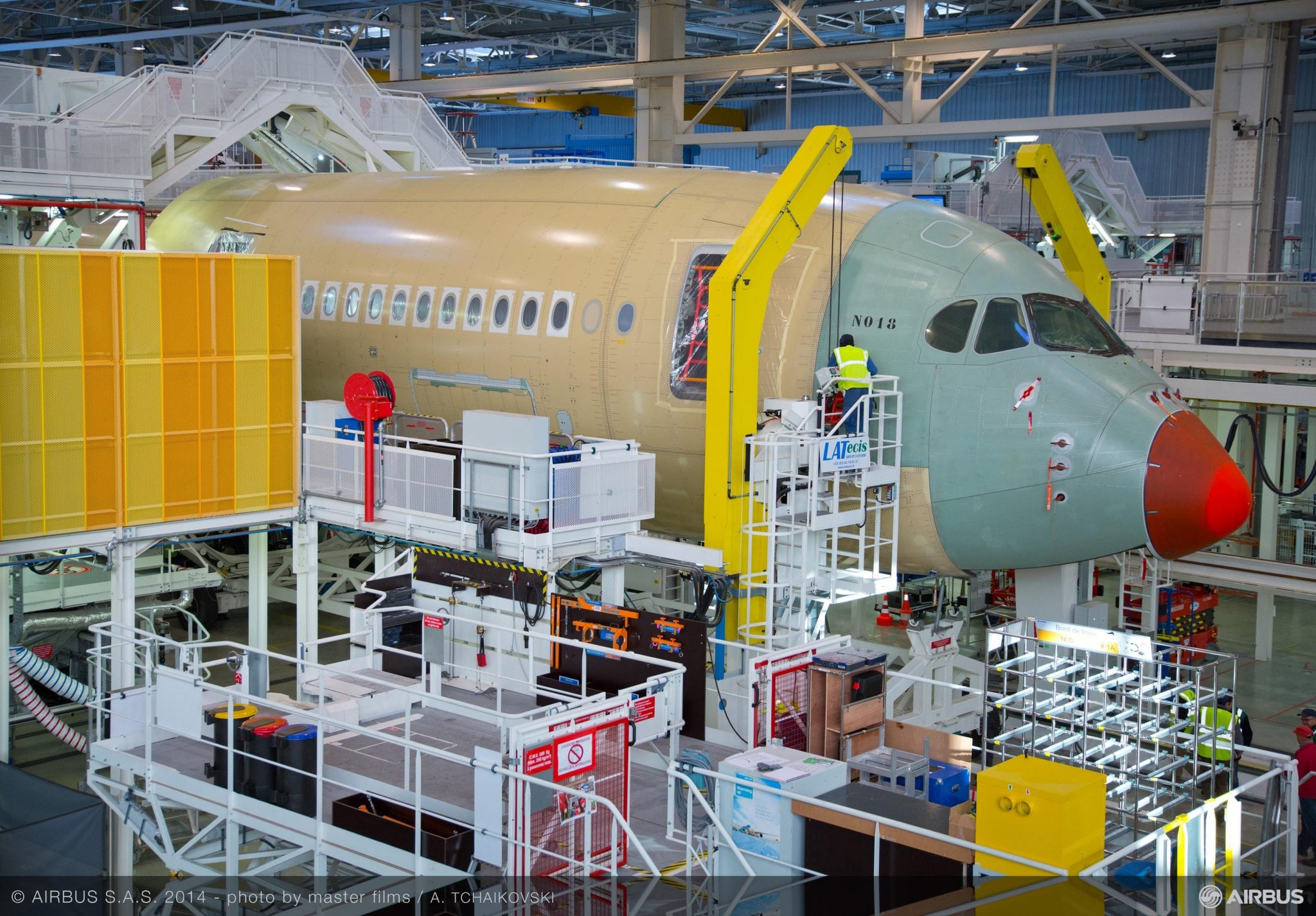 The first A350-900 for Finnair taking shape in the Roger Béteille Final Assembly Line (FAL) in Toulouse, France