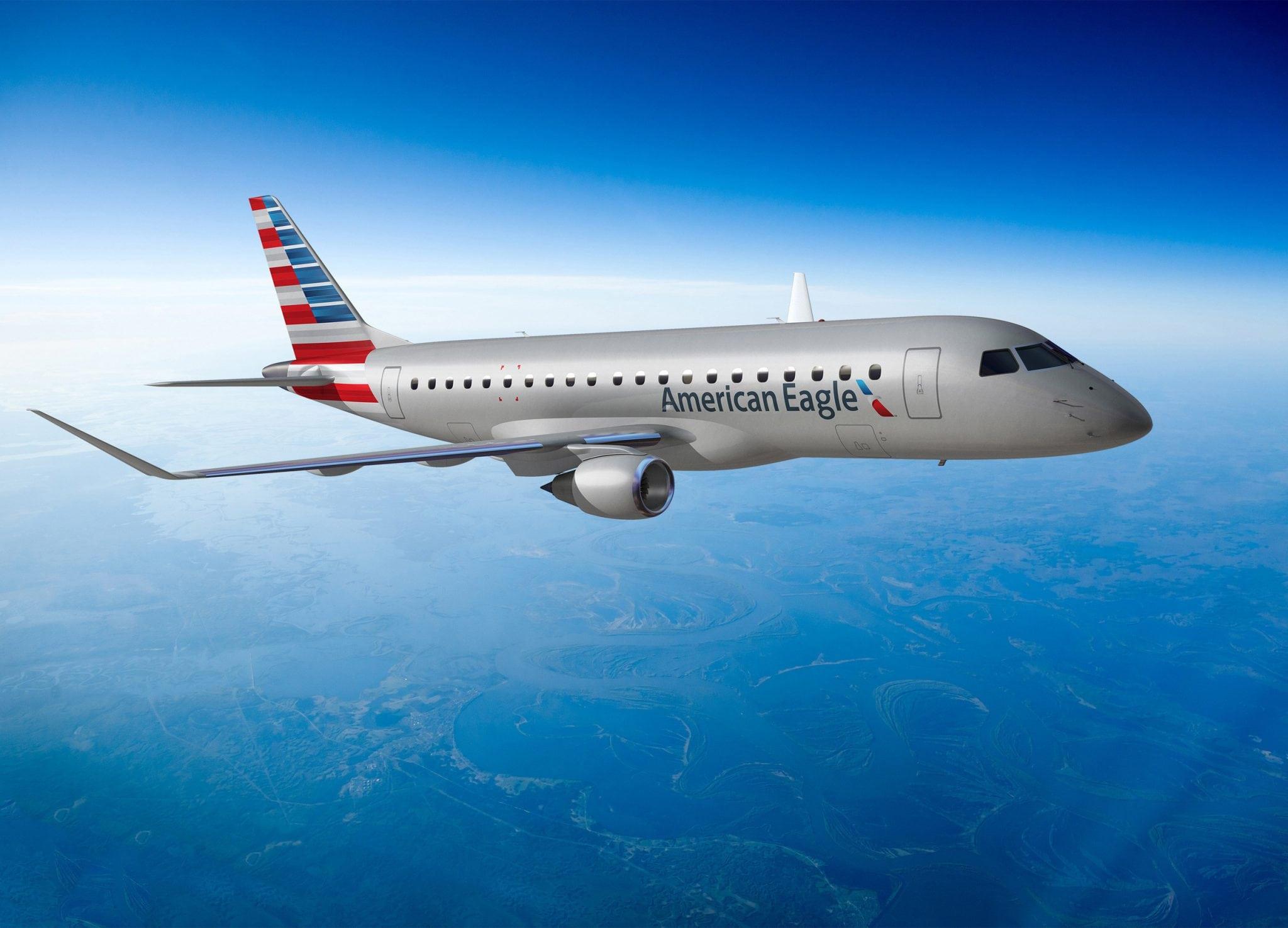American Eagle Embraer 175 regional jet rendering