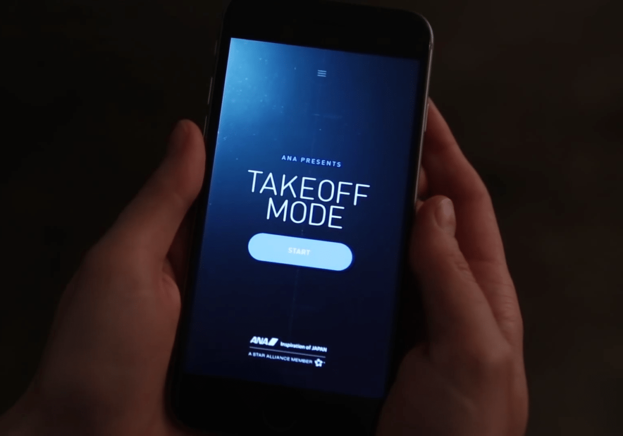 Passenger using ANA Takeoff Mode app