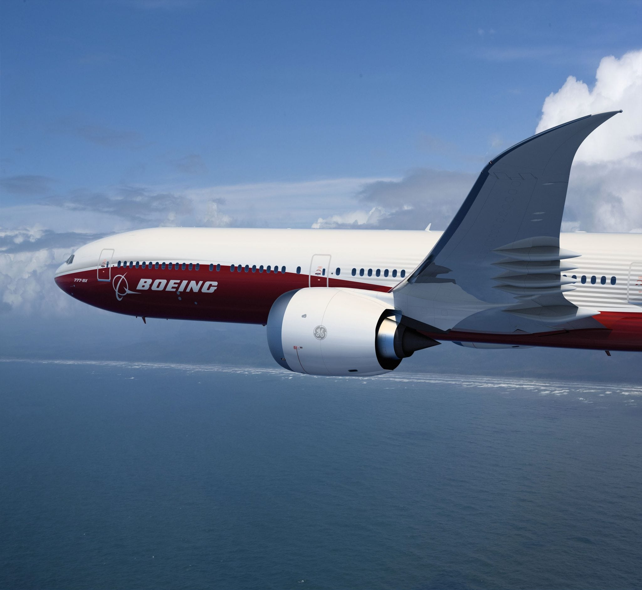 Boeing 777X aircraft in flight
