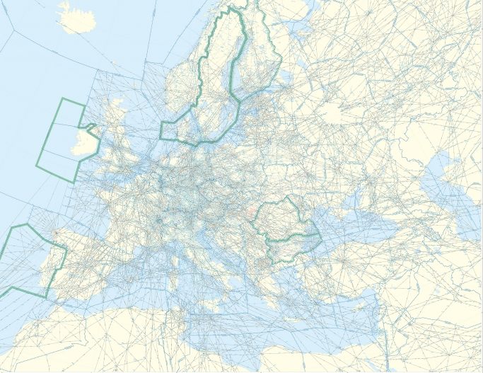 The air route network of Eurocontrol member states