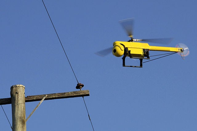 A UAS used to inspect power lines