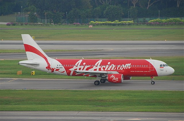 An Airbus A320-216 aircraft (PK-AXC) of Indonesia AirAsia at Singapore Changi Airport on August 7, 2011