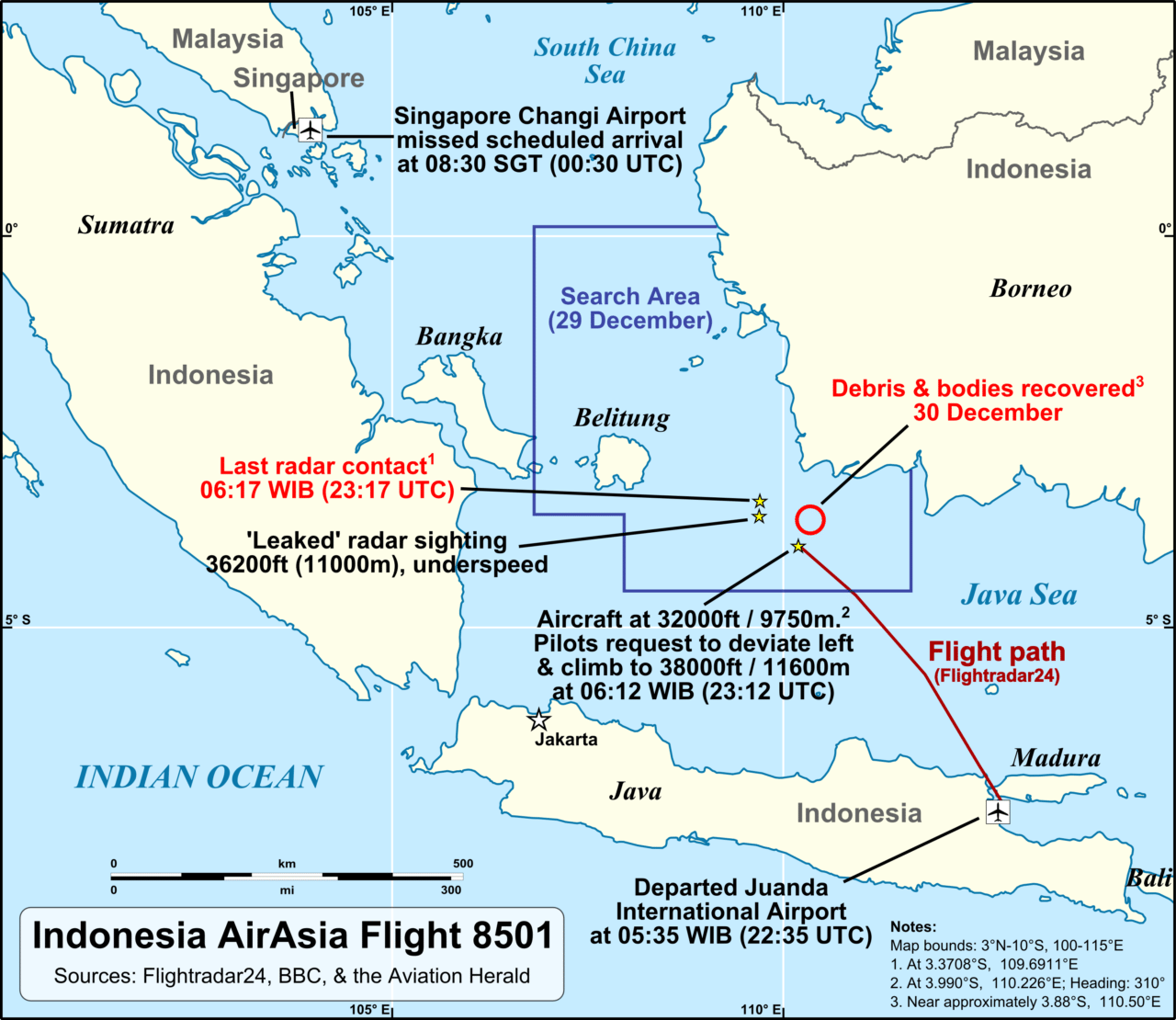 QZ8501 flight path and search area