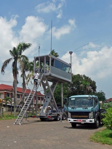 A mobile tower delivered to Indonesian ATC equipped with R&S VCS-4G system