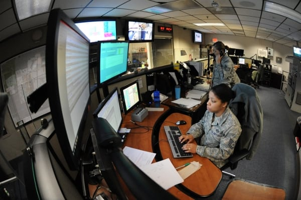 USAF personnel working on the SACSS system