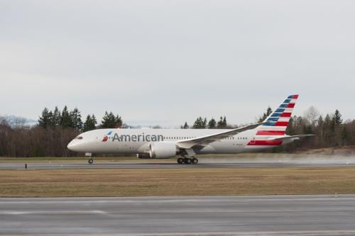 American's first Boeing 787 Dreamliner departing on its maiden test flight on Jan. 6, 2015