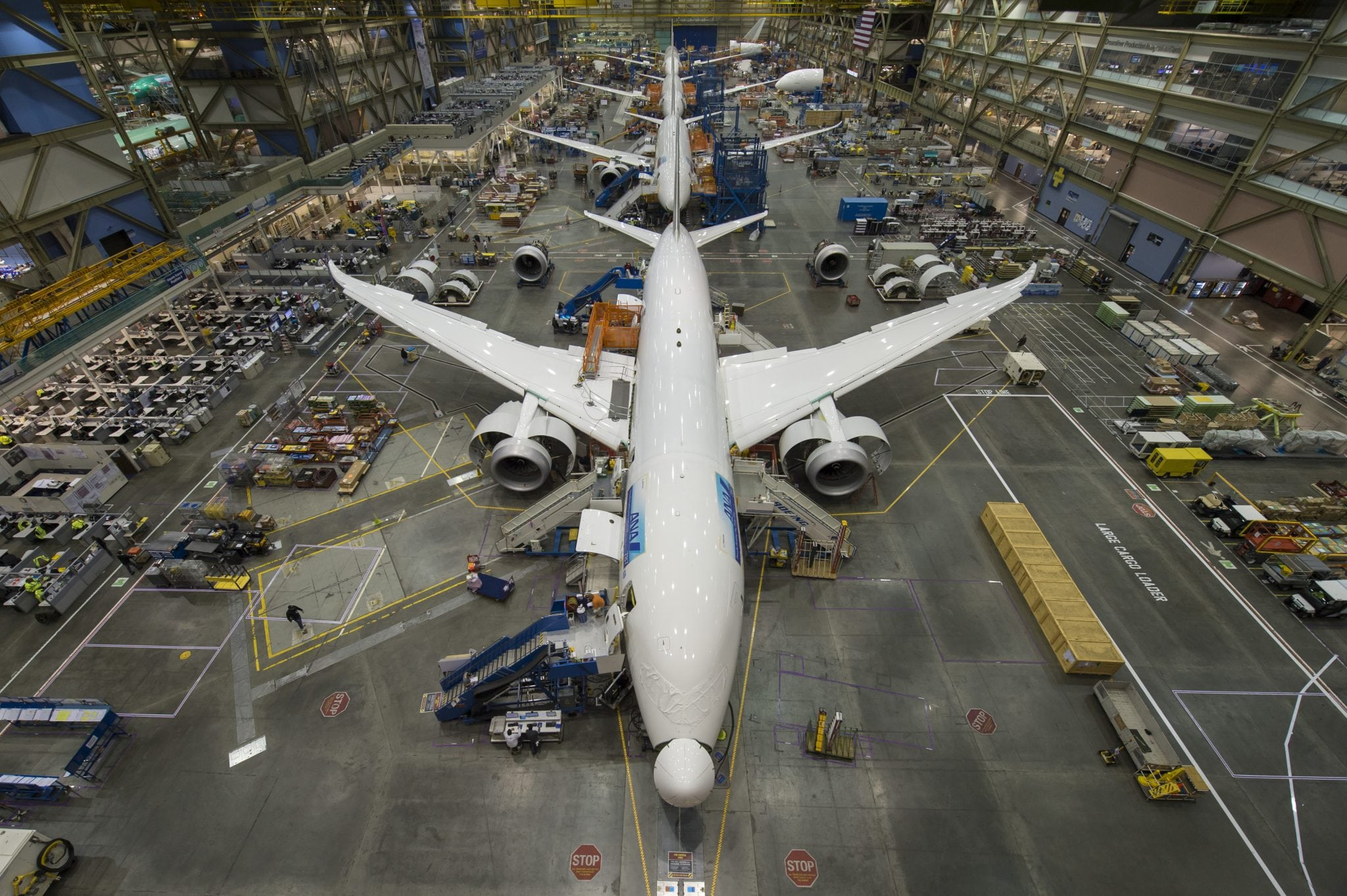 787 aircraft on the manufacturing line in Everett, Wash.