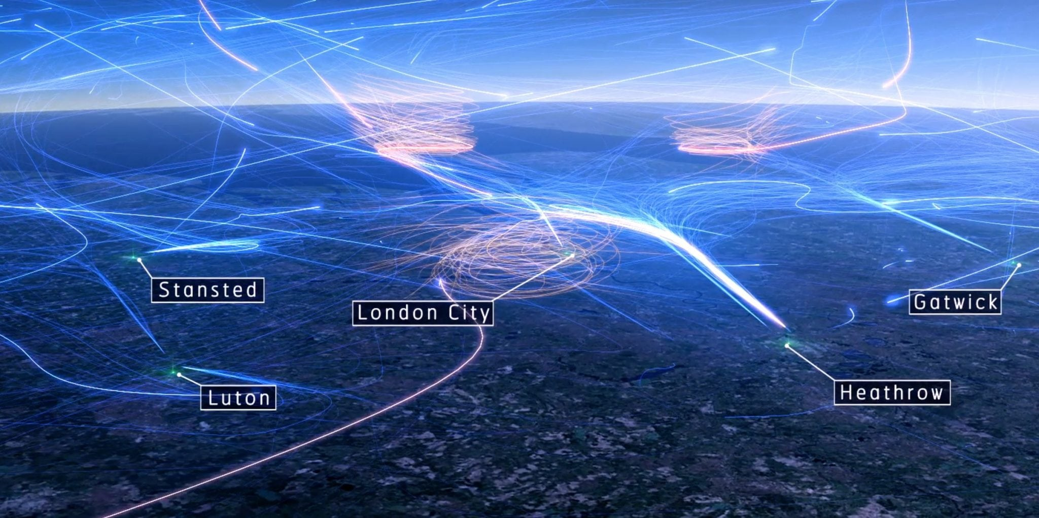 Heathrow's holding stacks – three shown here in orange – provide a continuous stream of arriving air traffic