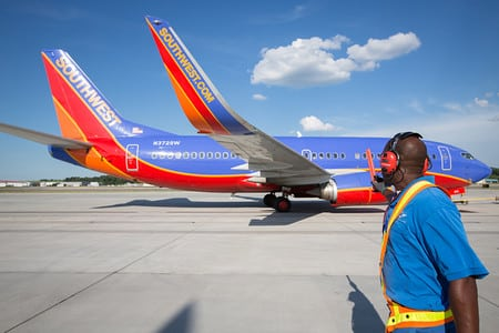Southwest aircraft on runway