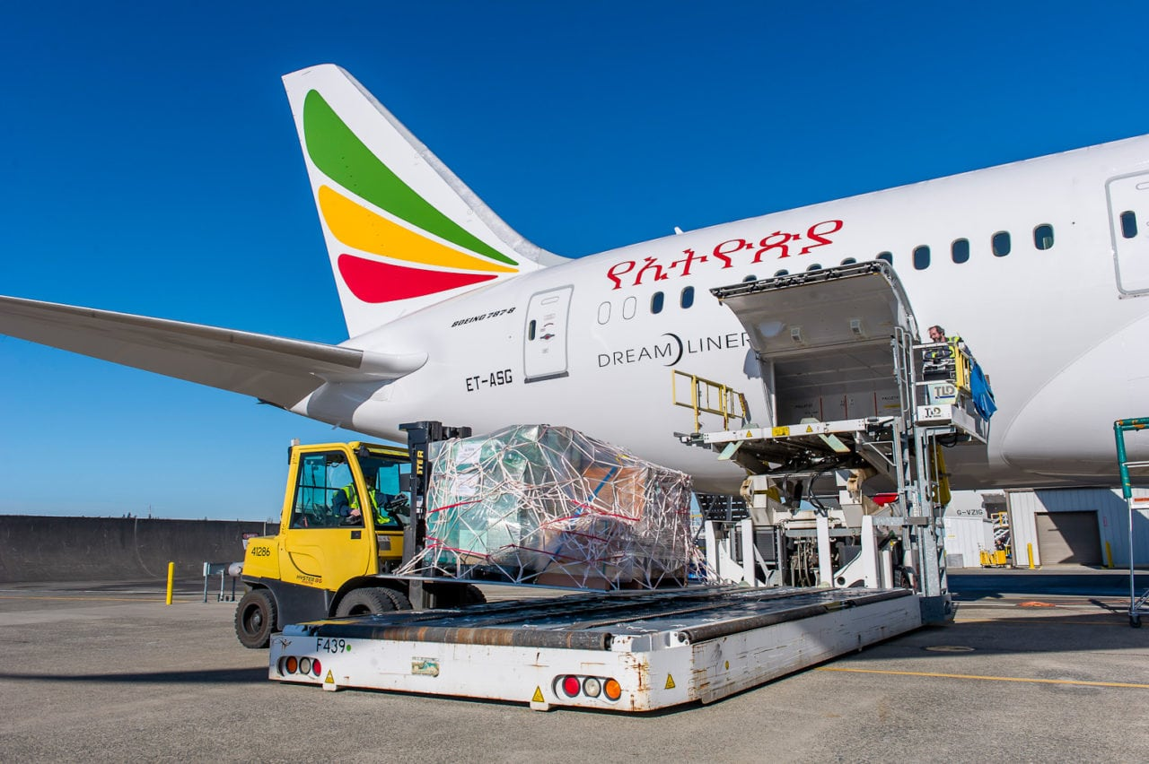 Medical supplies being loaded onto Ethiopian's newest 787 Dreamliner