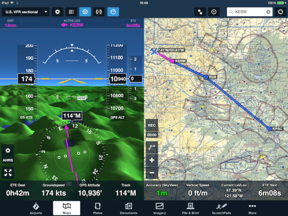 ForeFlight Mobile receives the SkyView GPS and AHRS data to feed the moving map and Synthetic Vision views
