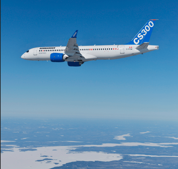 Bombardier CS300 in flight
