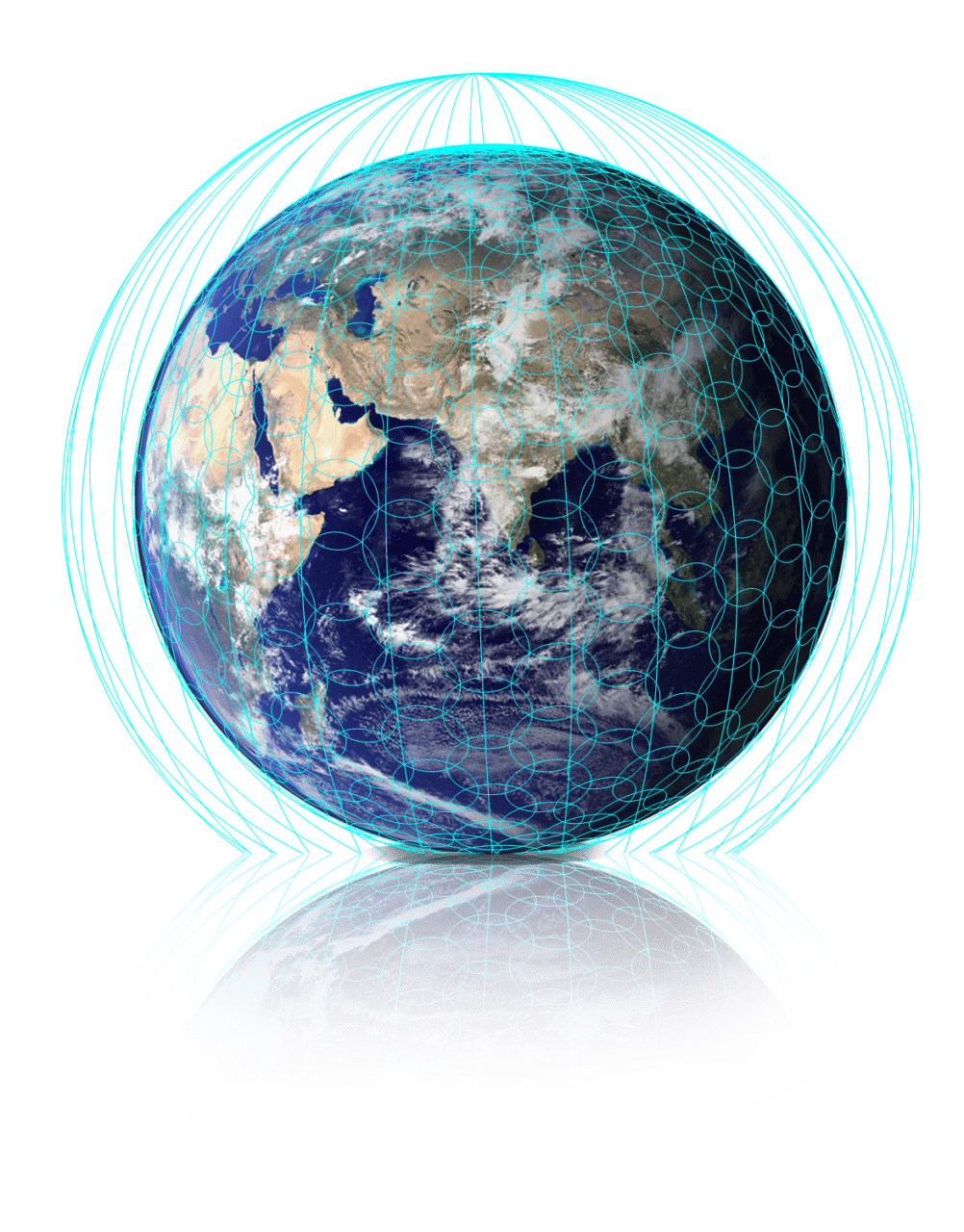 Digital rendering of coverage from OneWeb's future satellite constellation
