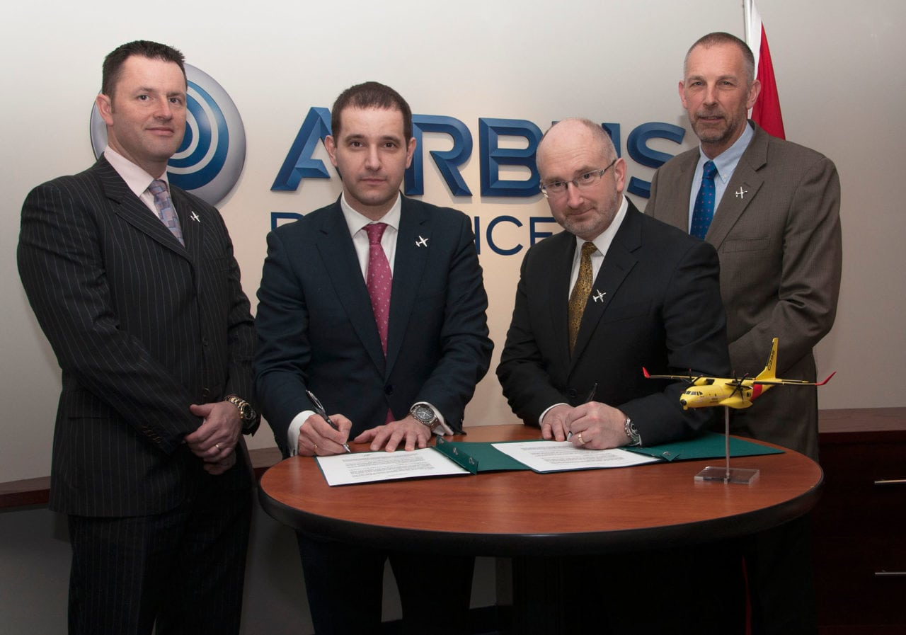 Officials from Airbus and Provincial Aerospace sign a letter of intent