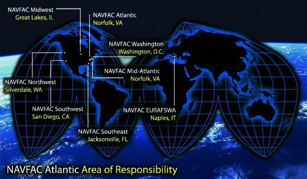 NAVFAC areas of responsibility for which Leidos will be conducting maintenance operations