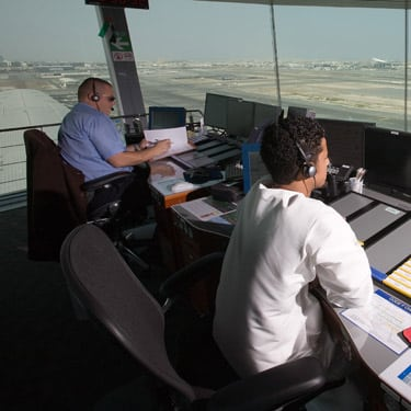 Serco employees managing an ATC tower