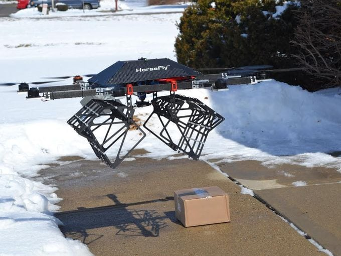 Horsefly UAS delivering a package