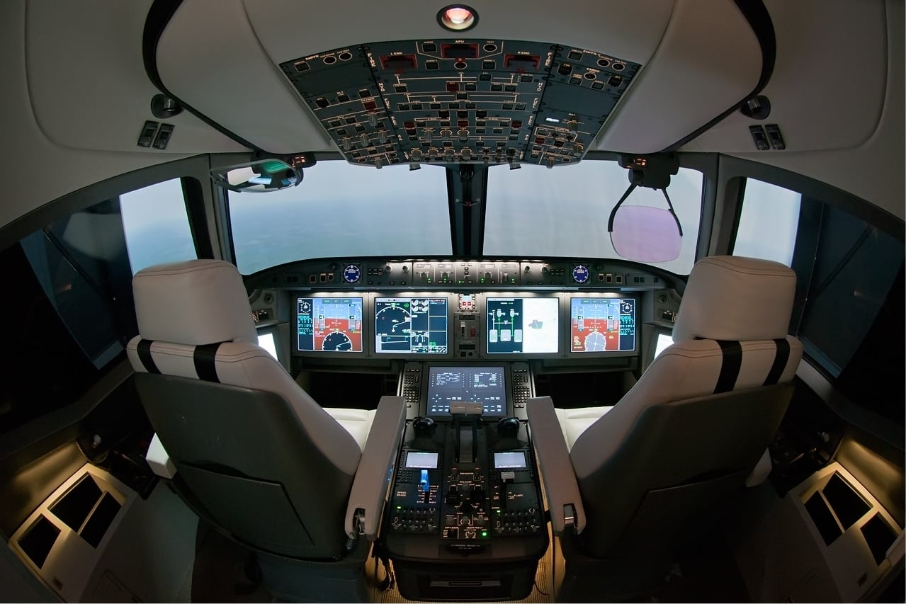 Mock up of the Irkus MC-21 cockpit, which will be fitted with active side stick