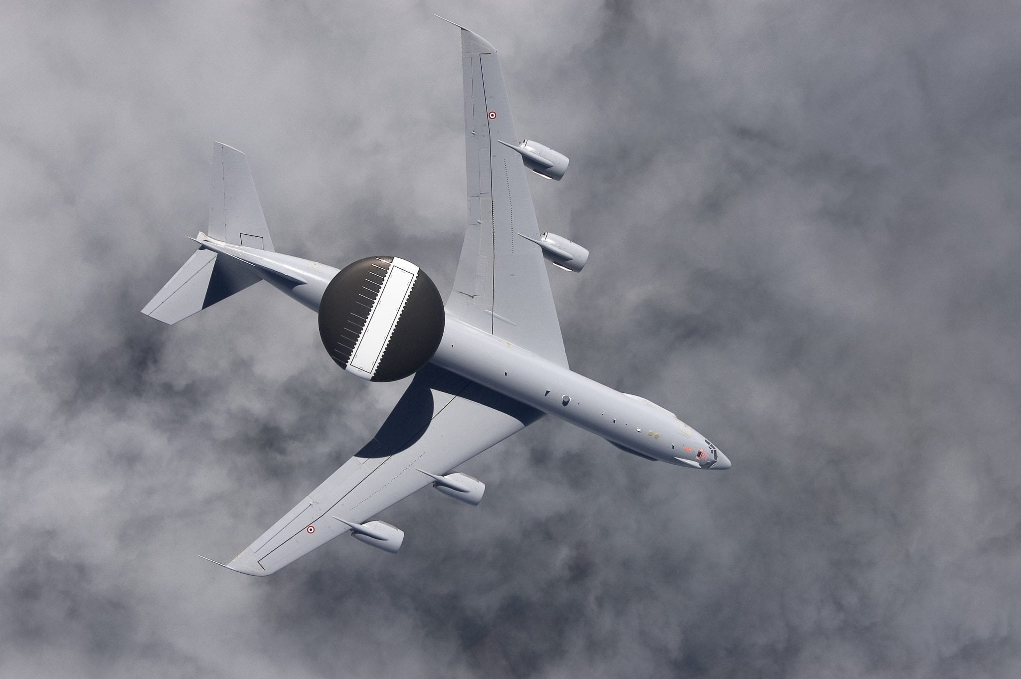 A French AWACS aircraft patrols the skies as part of a routine mission. The French AWACS fleet is in the midst of the Mid-Life Upgrade that modernizes the capabilities on board