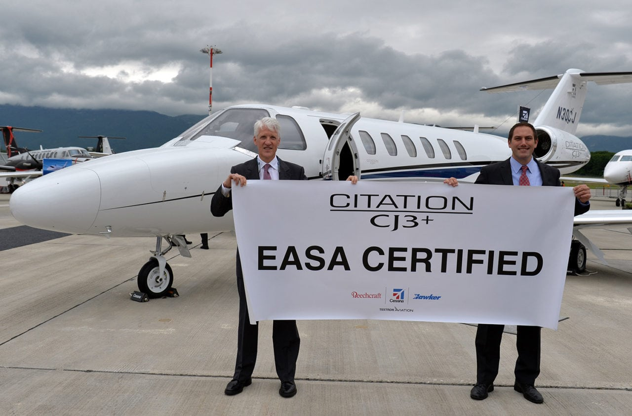 Textron officials announce EASA certification for the CJ3+. Photo: Textron