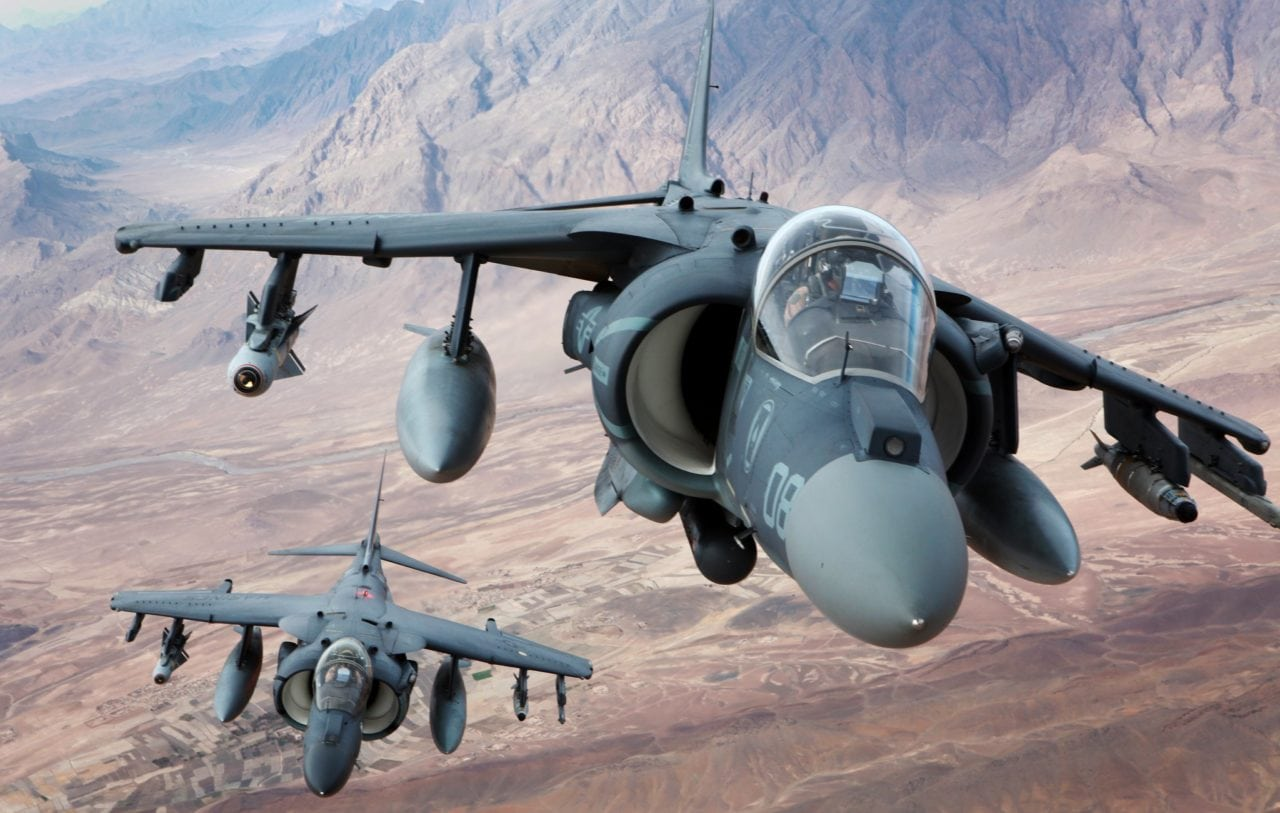 Two NAVAIR AV-8B Harrier II aircraft